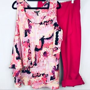 Daisy Fuentes  | Tiered Silky Tank | Pink | 2X